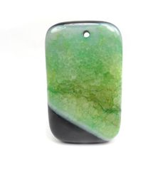Black and Green Druzy Agate Pendant Green