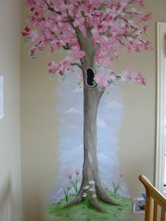 Pretty tree idea... very springy, perfect for the girl's room!