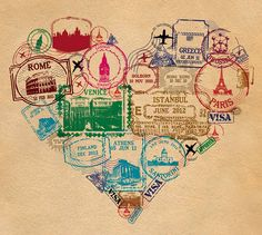 Personalised Passport Stamp Heart Print by Hannah Lloyd