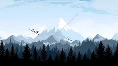 Macbook Wallpaper, Wallpaper Pc, Computer Wallpaper, Aesthetic Desktop Wallpaper, Scenery Wallpaper, Mountain Illustration, Landscape Illustration, Forest Landscape, Mountain Landscape