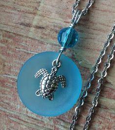 "Aqua Blue Sea Glass Necklace Glow 23.5"" Stainless Chain HandMade Sea Turtle #Handmade #Pendant"