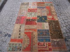 Turkish vintage PatcworkHandmade patchwork rug  6'6 x by Beautwool