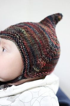 Gnome / pixie knit baby hat - free pattern on Ravelry