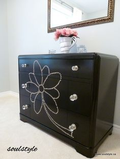 LOVE this dresser makeover with nailhead flower ... http://www.soulstyle.ca