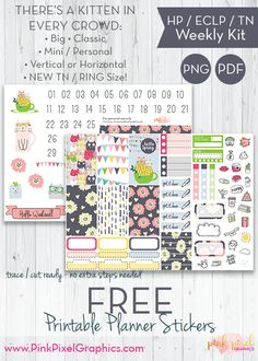 Free Printable Kitten in Every Crowd Weekly Planner Stickers : Happy Planner, Erin Condren and Travelers Notebook.. See more at www.pinkpixelgraphics.com {subscription required}