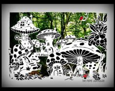 Cut Your Own, Fairy Toadstool House Village - Paper Cut Template COMMERICAL JPEG Paper cutting Template Fairies Enchanted