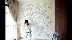Wall mural doodled entirely with sharpies within a period of 3 days. The design incorporates flowers in the chinese culture to bring in good health and prosp...