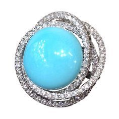 Fabulous Leo Pizzo Turquoise and Diamond Ring | From a unique collection of vintage cocktail rings at http://www.1stdibs.com/jewelry/rings/cocktail-rings/
