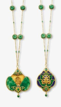 AN ART NOUVEAU JADEITE AND ENAMEL PENDENT NECKLACE, CIRCA 1900. The pendant esigned as two carved jadeite plaques decorated with enamel, both carved and pierced with a bat and coins, representing the rebus 'fu zai yan qian' or 'luck before your eyes', sliding open to reveal a seated buddha in meditation, enhanced enamel and gold lotus flowers top, terminal and back with jadeite beads detail, to the link chain with carved jadeite spacers, mounted in gold.