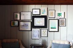 Gallery wall tips and tricks - start with the biggest and boldest in the middle, then work outwards
