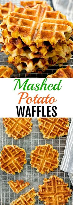 A great use for leftover mashed potatoes and a fun brunch idea. A great use for leftover mashed potatoes and a fun brunch idea. Mashed Potato Pancakes, Savory Waffles, Sweet Potato Waffles, Mashed Potato Recipes, Leftovers Recipes, Brunch Recipes, Crepe Recipes, Waffle Maker Recipes, Pancake Recipes