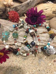 Boho style bracelet set.  3 bracelets with by SunnybeachDesign