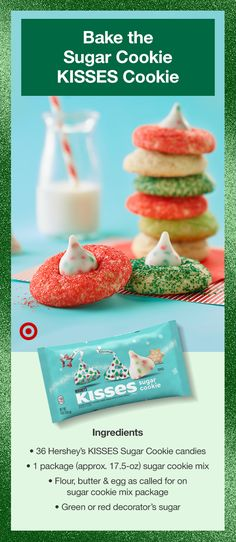 Christmas Sweets, Christmas Candy, Christmas Baking, Christmas Cookies, Sunday Recipes, Holiday Recipes, Hershey Kiss Sugar Cookies, Great Desserts, Dessert Recipes