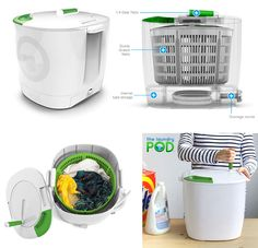 Laundry POD is a portable, eco-friendly washer designed for washing small loads of laundry using a minimal amount of water and no electricity. Easy to use manually operated spinning, washing and draining system can clean clothes in less than 10 minutes.