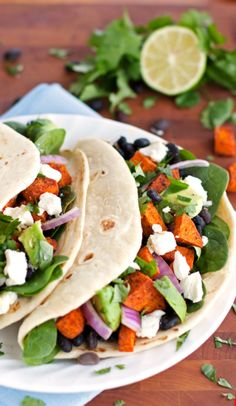 Roasted Sweet Potato Tacos – Food Bloggers Unite: Feed a Child, Nourish a Mind! from 2Teaspoons