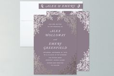 """""""Foiled Corners"""" - Hand Drawn, Floral & Botanical Foil-pressed Wedding Invitations in Charcoal by Katharine Watson."""