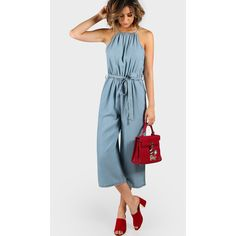 aaac42291b05 Plunging Denim Culotte Jumpsuit CHAMBRAY (50 CAD) ❤ liked on Polyvore  featuring jumpsuits