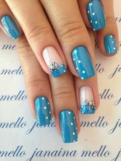 """If you're unfamiliar with nail trends and you hear the words """"coffin nails,"""" what comes to mind? It's not nails with coffins drawn on them. It's long nails with a square tip, and the look has. Elegant Nail Designs, Blue Nail Designs, Best Nail Art Designs, Spring Nail Art, Spring Nails, Blue Nails, My Nails, Short Nails Art, Nail Art Diy"""