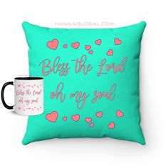 Bless The Lord Og My Soul Set This epic set contains two items: 1.Bless The Lord Oh My Soul Faux Suede Square Pillow Lovely design and colors that fit in different places. 2.Lovely Bless The Lord Oh My Soul Mug White Ceramic Mug with a black handle and black color Inside. Bless The Lord, Home And Living, White Ceramics, Blessed, Throw Pillows, Gift Sets, Colors, Places, Fit