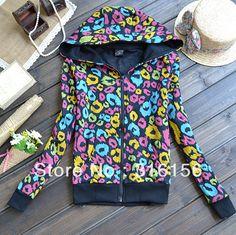 Printing even short coat zipper cardigan fleece jacket sweatshirt Freeshipping $10.60