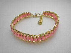 Pink and Gold Chain Bracelet by Stinnys on Etsy Jewelry Supplies, Gold Chains, Pink And Gold, Beading, Trending Outfits, My Style, Unique Jewelry, Bracelets, Handmade Gifts