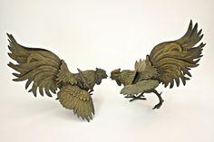 Brass Gamecocks, Brass Fighting Roosters, Brass Fighting Chickens, Vintage Brass Fighting Roosters, Man Cave Decor, Mid Century Modern Decor