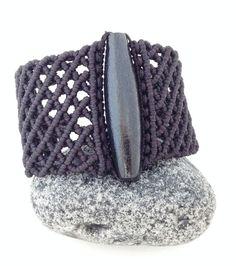 Macramè bracelet / etnic macramè bracelet/ black bracelet/ large bracelet/ made in Italy/ hand made Macrame Necklace, Macrame Jewelry, Macrame Bracelets, Handmade Bracelets, Cuff Bracelets, Handmade Jewelry, Tatting Patterns, Macrame Patterns, Micro Macramé