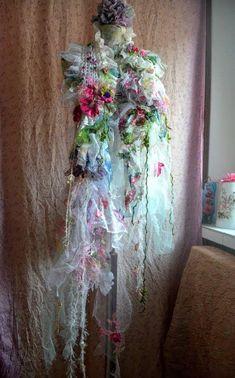 Art to wear scarf  Wearable art Bohemian scarf boho shawl