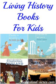 Fun living history books for children. They can look back in time and see what life would be like if they lived in the middle ages, ancient greece, pioneer life and more! A great homeschool history resource to. History Books For Kids, Study History, Primary History, History Activities, Teaching History, Therapy Activities, Teaching Social Studies, Teaching Tools, Kids Reading