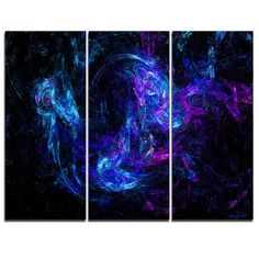 DesignArt Blue Chaotic Strokes - 3 Piece Graphic Art on Wrapped Canvas
