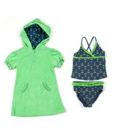 Take a look at this Navy Anchors Away Tankini & Cover-Up - Infant, Toddler & Girls on zulily today!
