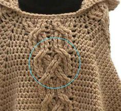 Detalle de trenzas cruzadas crochet