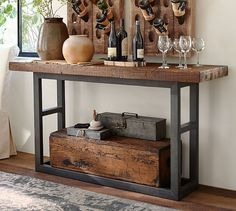 Browse Pottery Barn's collection of entryway furniture. Find entryway benches, hall trees, console tables and decor in classic styles and quality finishes. Wood Sofa, Decor, Reclaimed Wood, Reclaimed Wood Console Table, Wood Sofa Table, Furniture, Slab Console Table, Reclaimed Wood Coffee Table, Wood Slab