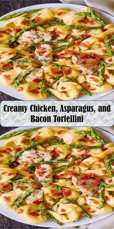 Creamy Chicken, Asparagus, and Bacon Tortellini Chicken Asparagus, Creamy Chicken, Tortellini, Vegetable Pizza, Love Food, Bacon, Sweet Home, Wings, Vegetables