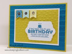 See Ya Later Sale-a-bration Birthday Card with How To Video, Stamping to Share, Banner Blast, Stampin' Up!, Kay Kalthoff