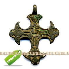 Старинный криновидный православный нательный крест XVIII-XIX века.