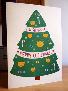 Christmas card  Cat Christmas tree by LaBertinelli on Etsy, €3.50  <3 cuuuteee!