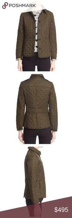 """BURBERRY Ashurst Quilted Jacket Olive Green NWOT New without tags; no defects  True to size. XS=2, S=4-6, M=6-8, L=10-12, XL=14, XXL=16.  A trim-fitting jacket exudes heritage polish with diamond quilting, shoulder epaulets and buffalo-horn buttons. An attached half-belt shapes the back waist and classic checks line the multi-season style. 25"""" length (size Medium) Front button closure with hook-and-bar at collar Spread collar Front besom pockets Attached martingale belt Back vent Fully…"""