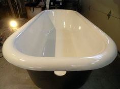 Want to replace your vintage cast iron bathtub? You may be surprised that a comparable antique tub, or even a period-style reproduction, can easily cost thousands of dollars. Cast Iron Tub Refinish, Cast Iron Bathtub, Clawfoot Tub Bathroom, Small Bathroom, Bath Tub, Bathroom Ideas, Bathroom Remodeling, Asian Bathroom, Restroom Ideas