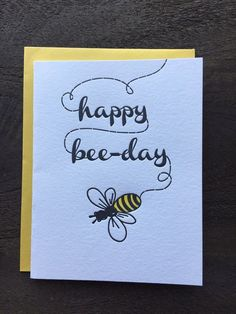 Homemade Cards Discover Letterpress Birthday Card Pun Punny Cute Funny Retro Happy Bee Day Bumble Bee Black and Yellow Vintage Inspired Letterpress Birthday Card Pun Punny Cute by VioletPressandPaper Birthday Card Puns, Birthday Card Drawing, Homemade Birthday Cards, Bday Cards, Homemade Cards, Birthday Greetings, Birthday Ideas, Birthday Cake, Birthday Design
