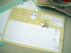 Owl recipe card by MyOwlBarn, via Flickr