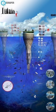 Water-Scraper: Underwater Architecture by Sarly Adre Bin Sarkum Architecture Durable, Futuristic Architecture, Sustainable Architecture, Amazing Architecture, Landscape Architecture, Architecture Design, Innovative Architecture, Architecture Portfolio, Floating Architecture