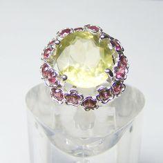 Large Gemstone Sterling Silver  Unique Ring with Lemon Quartz & Rubellite on Etsy, $200.00
