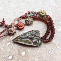Ceramic owl pendant mixed media necklace artisan by THEAjewellery