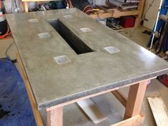 concrete patio table built led concrete patio table with built in beverage cooler make diy