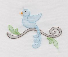 Shadow Work & Embroidery :: Feathered Friends :: Shadow Bird on Branch Machine Shadoiw Work