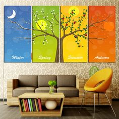 Online Shop Modern Wall Art Home Decoration Printed Oil Painting Pictures No Frame 4 Panel Happy Tree in Four Season Large Living Room Decor Four Seasons Painting, Four Seasons Art, Living Room Decor Tree, Rooms Home Decor, Living Rooms, Bedroom Decor, Oil Painting Pictures, Pictures To Paint, Wall Pictures