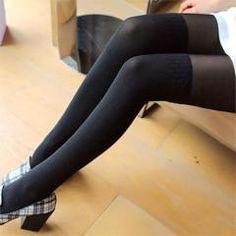 Siyah Alt Kısmı Koton Üst Kısmı İnce Bayan Külotlu Çorap