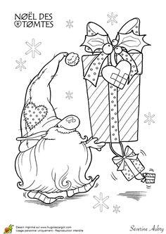 Coloriage les tomtes lutins suedois cadeaux sur Hugolescargot.com - Hugolescargot.com
