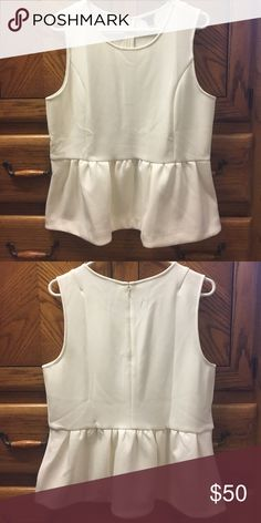 Loft Peplum Blouse Brand new, never worn. White peplum blouse. Super cute but just too big for me. LOFT Tops Blouses